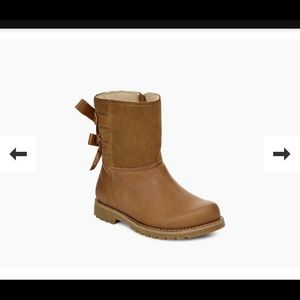 Tan uggs with bow